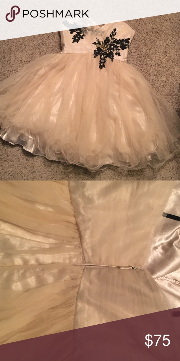 Semi-Formal Dress Champagne color. Worn once. Beautiful condition. Alex & Sophie Dresses Strapless