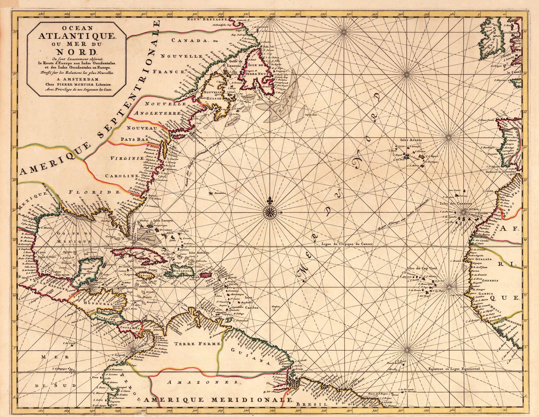 Atlantic ocean historical map  Maps and atlas  Pinterest