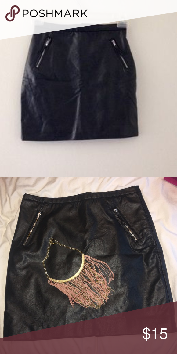 a7a059ae8e Vegan Leather Skirt H&M faux leather skirt with front zippers - NWT Perfect  for winter ❄ 🌨🌬❄ 🌬🌨🌬❄ 🌨🌬First picture used for black leather skirt  ...