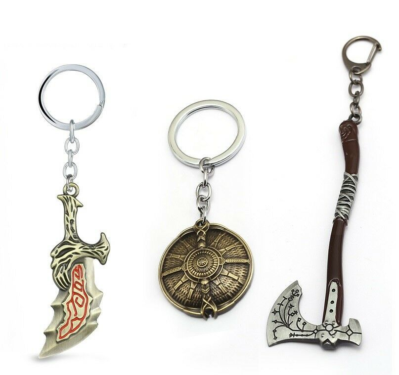 GOD OF WAR Keychain Kratos Leviathan Axe Guardian Shield Metal Keyrings