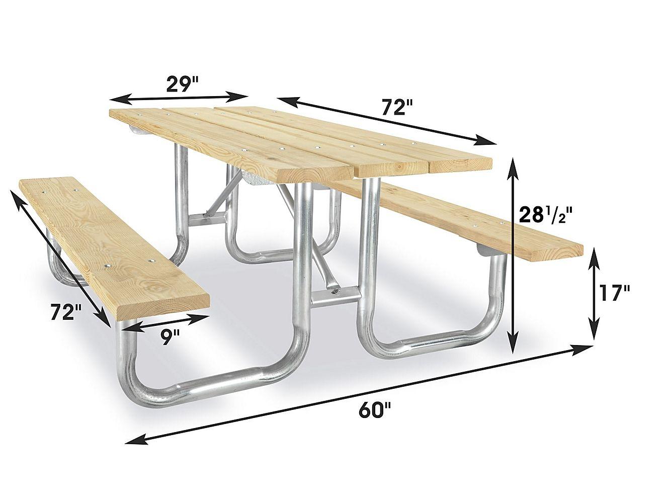 Steel Frame Pressure Treated Picnic Table 6 H 4405 Uline