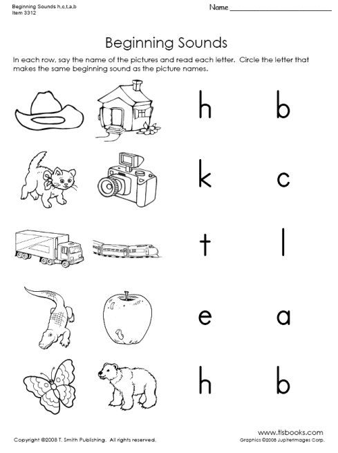 Beginning Sounds Of H C T A And B Kindergarten