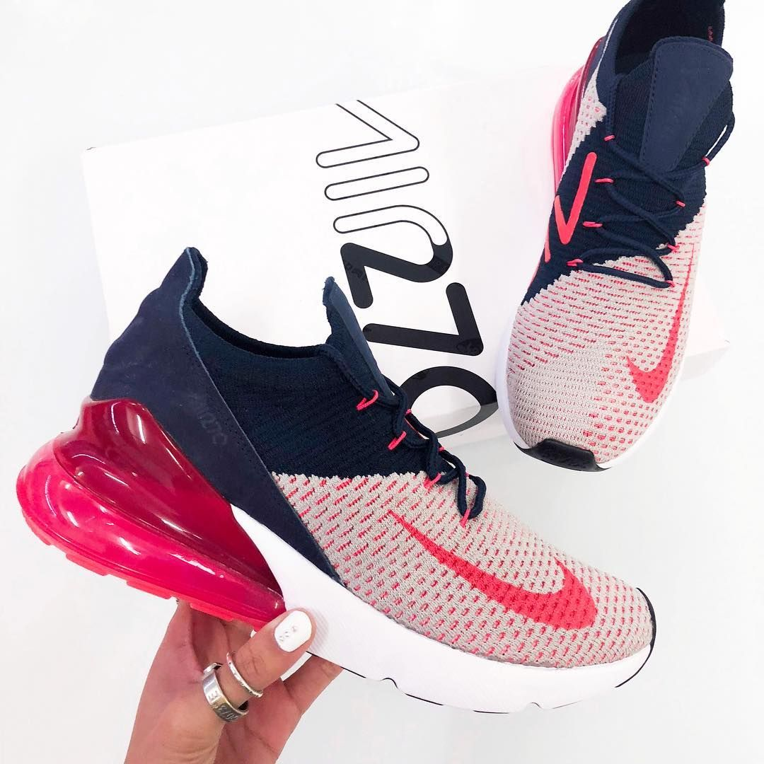 d40e9853c5ff0 Bold and stylish, meet the new Nike Air Max 270 Flyknit Women's Shoe in  blue, white and red. Top new nike sneakers for 2018.