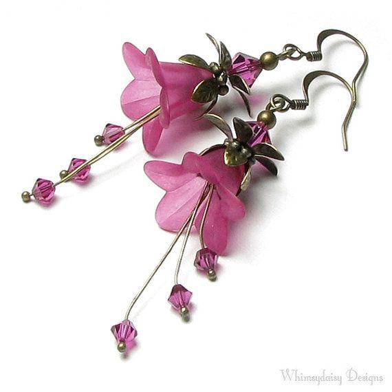 Fuchsia Flower Swarovski Crystal Long Antique Brass Earrings Etsy In 2020 Lucite Flower Earrings Jewelry Floral Jewellery
