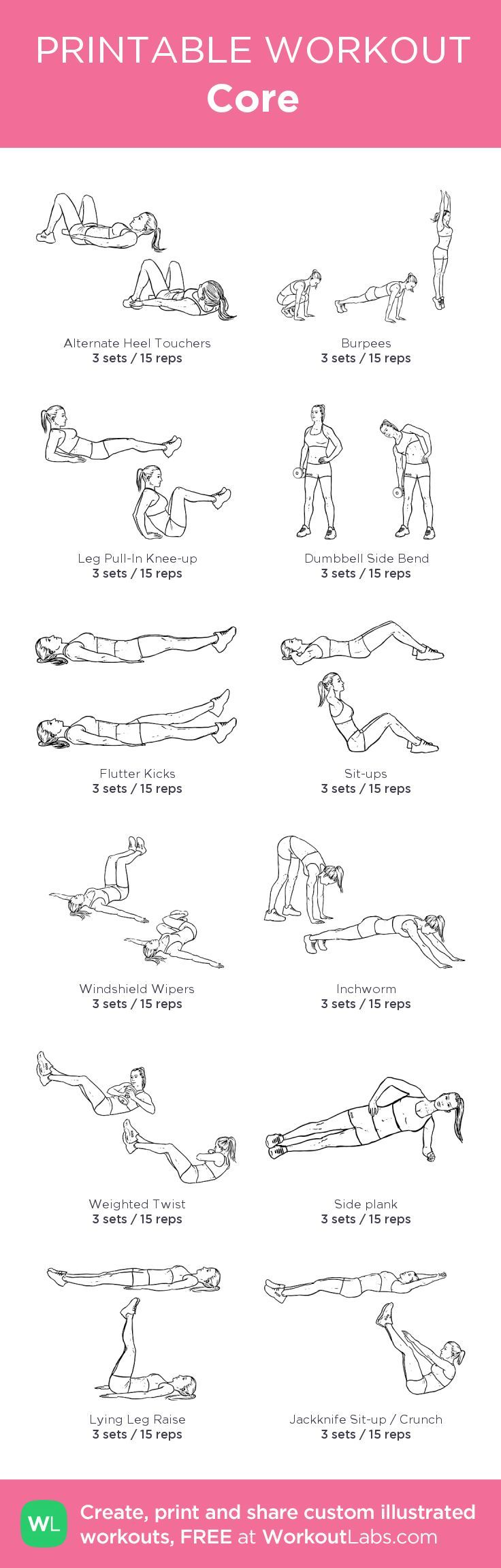 Core my custom printable workout by WorkoutLabs