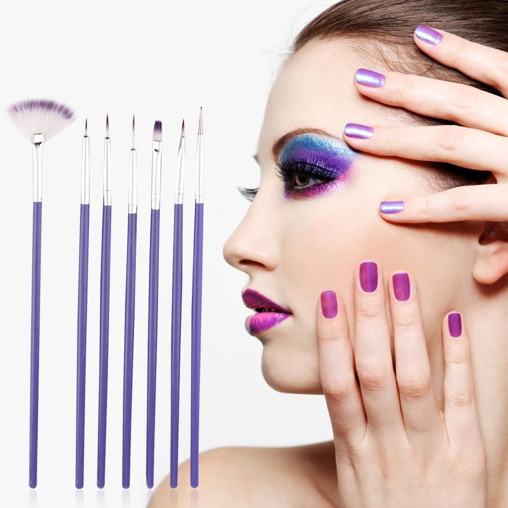 7Pcs Purple Nail Brush Set Crystal Nail Polish Brush Kits Nail Tips Brushes Hot Selling