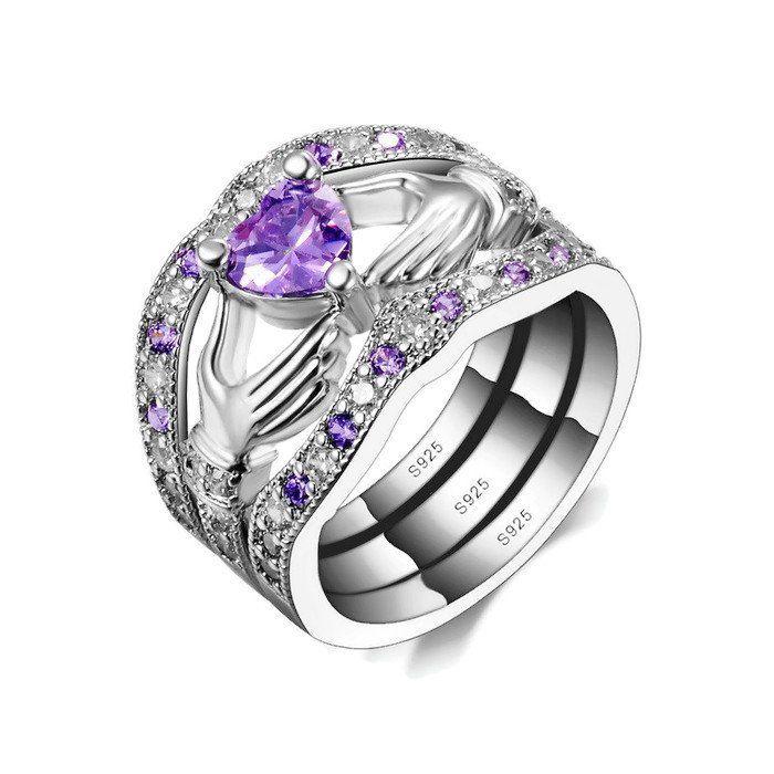 ce66c75605b0c Sterling Silver Stunning 3 Piece Amethyst Claddagh Ring Set Sz 6-9 ...