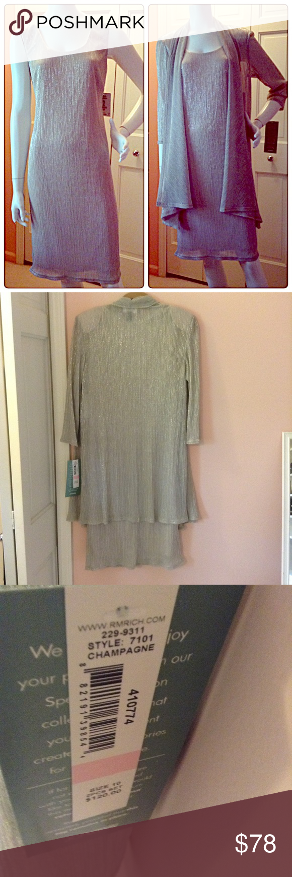 Perfect for the holidays! Never worn - still has tags - originally $120. - silver elegant sheath dress with jacket - perfect for any holiday party.  Easy to wear, comfortable, with a little stretch.  Gorgeous! Dresses Midi