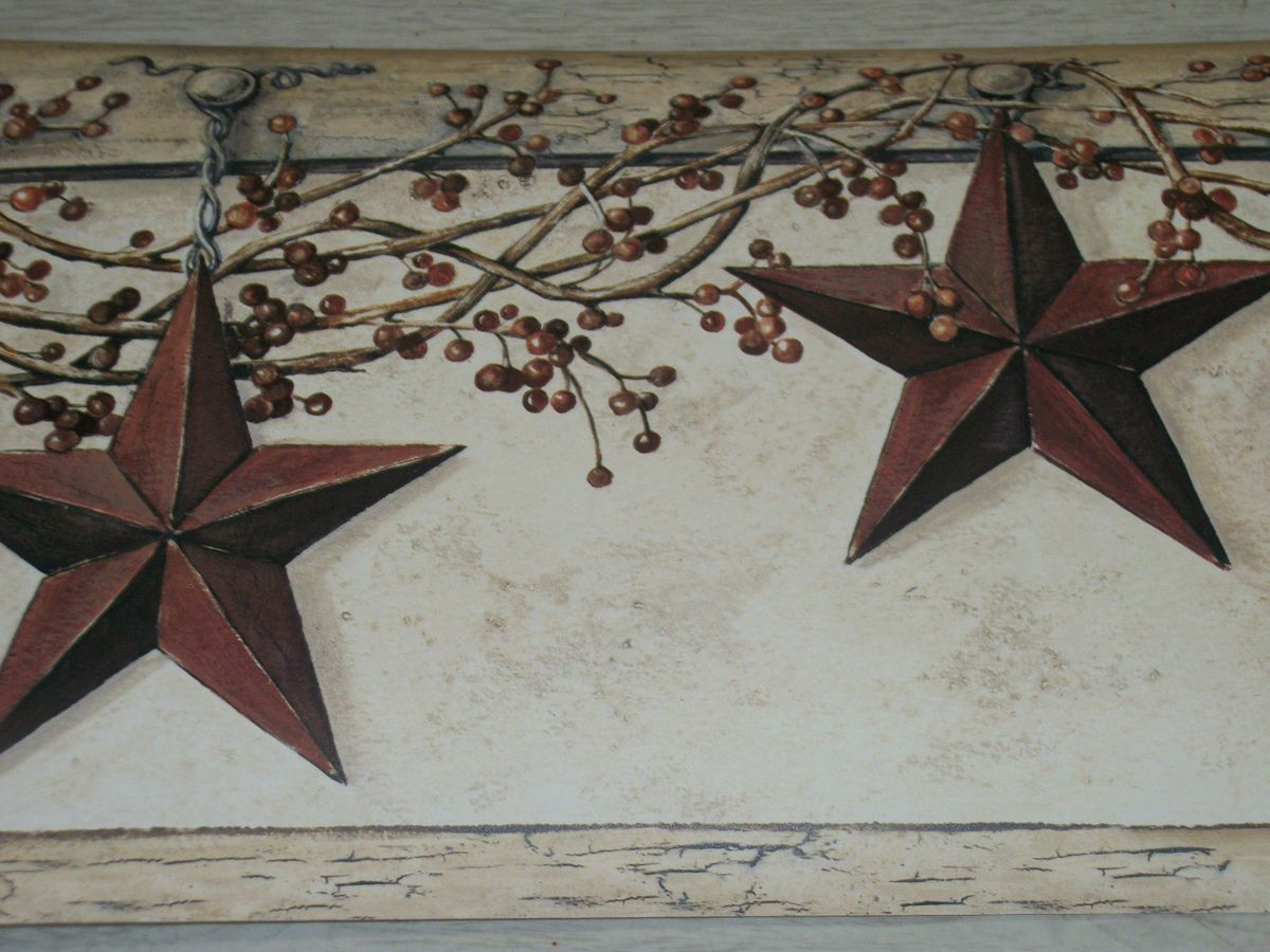 YORK COUNTRY PRIMITIVE HANGING STAR BERRIES WALLPAPER BORDER ...