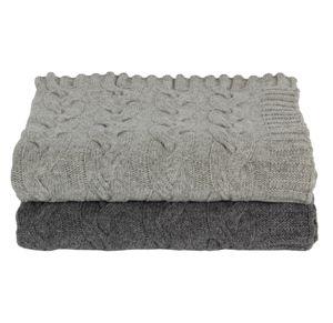 Plaid en laine d agneau torsadée gris gris clair Côté Table 129 ... 253650501d6
