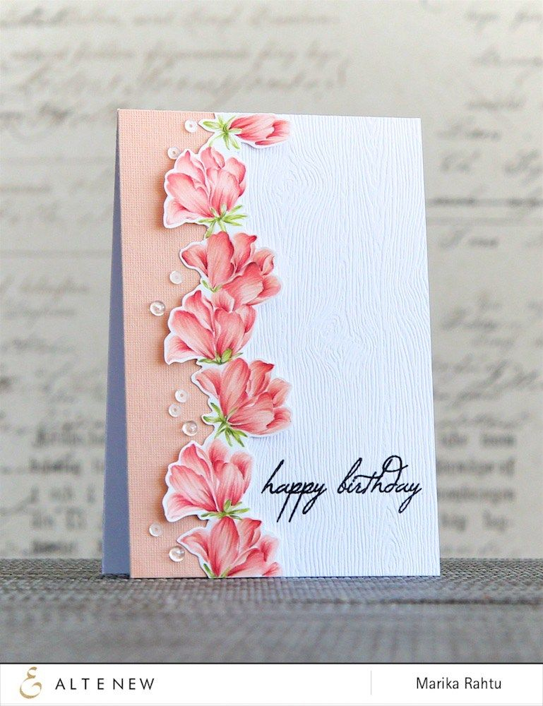 Beautiful Birthday Card With Peonies From Altenew Peony Bouquet Stamp Set Copics And Coloured Pencils A Video