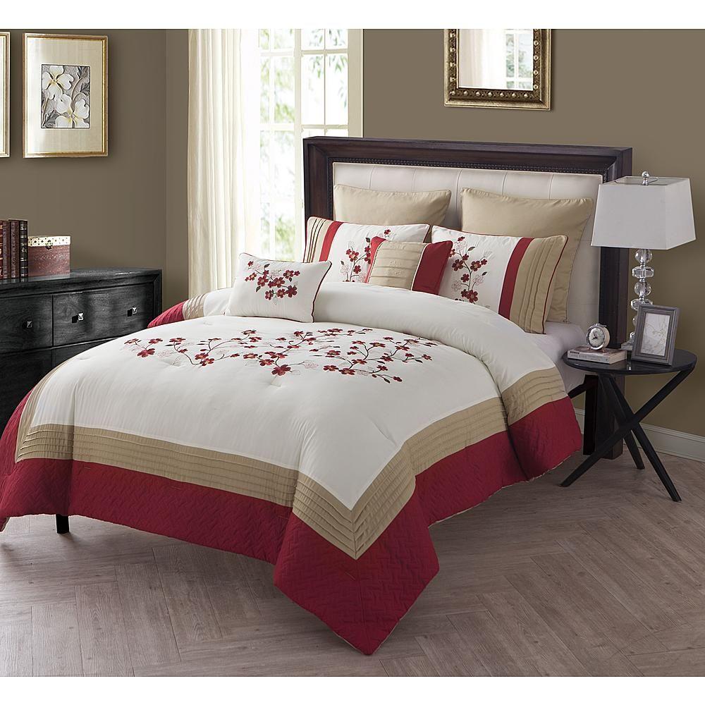 7pc. Comforter Set Cherry Blossom Comforter sets, Full