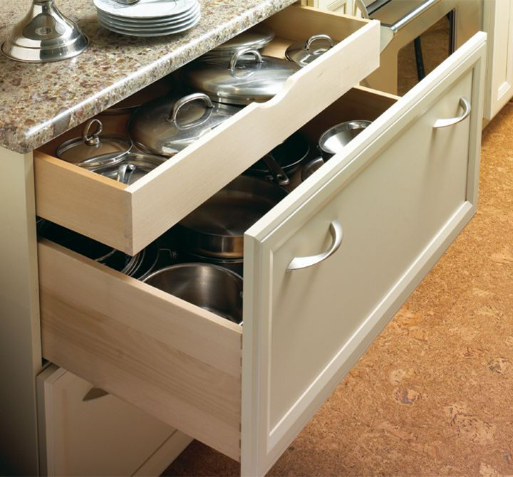 drawer in drawer storage and deep drawers are great for storing lids and their pots and pan on kitchen organization cabinet id=31860