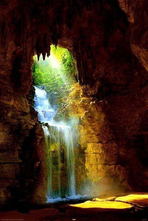 cave waterfall waterfalls cascades pinterest. Black Bedroom Furniture Sets. Home Design Ideas