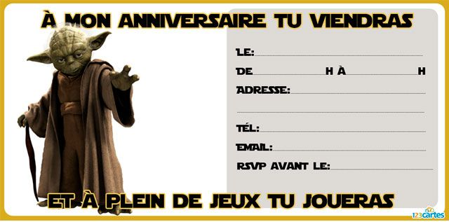 invitation anniversaire star wars imprimer avec les. Black Bedroom Furniture Sets. Home Design Ideas