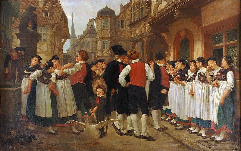 Marchal, Charles-François, (1825-1877), The Servants Fair at Bouwiller, 1864