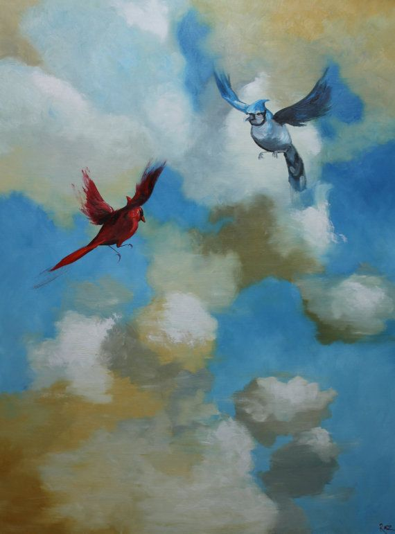 Birds 47 18x24 inch Print from oil painting by Roz