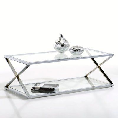 table basse chrome et verre la redoute home pinterest table basse bas et table basse en. Black Bedroom Furniture Sets. Home Design Ideas