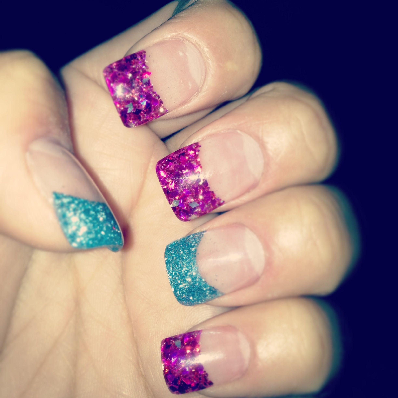 Glitter acrylic nail tips | My nail art | Pinterest | Glitter ...