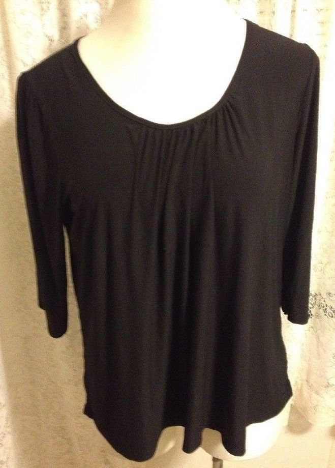 Suzie In The City Womens Black Top 34 Length Sleeves Stretch Knit