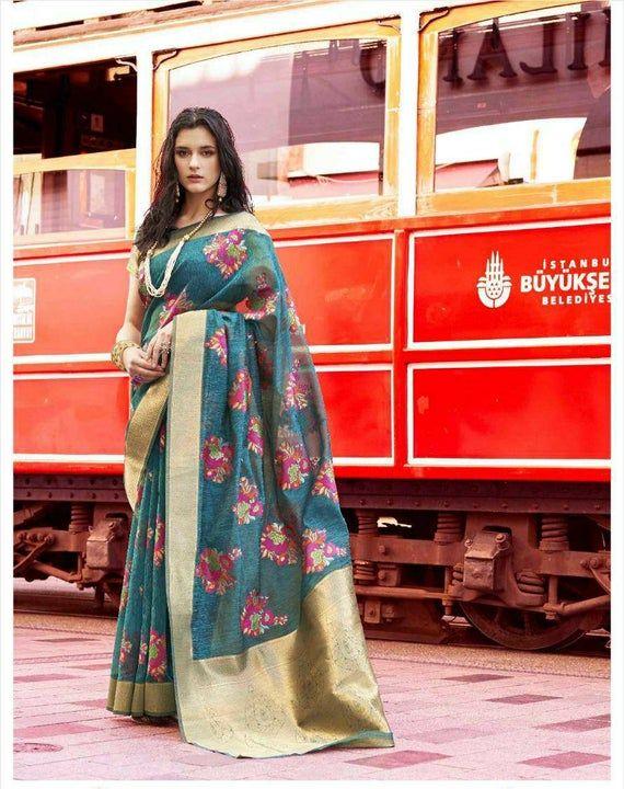 Photo of Pure Taspa linen saree, partywear saree, wedding saree, saree blouse, Rama blue saree, bridal saree, ethnic ware, kaadhya silk, sari