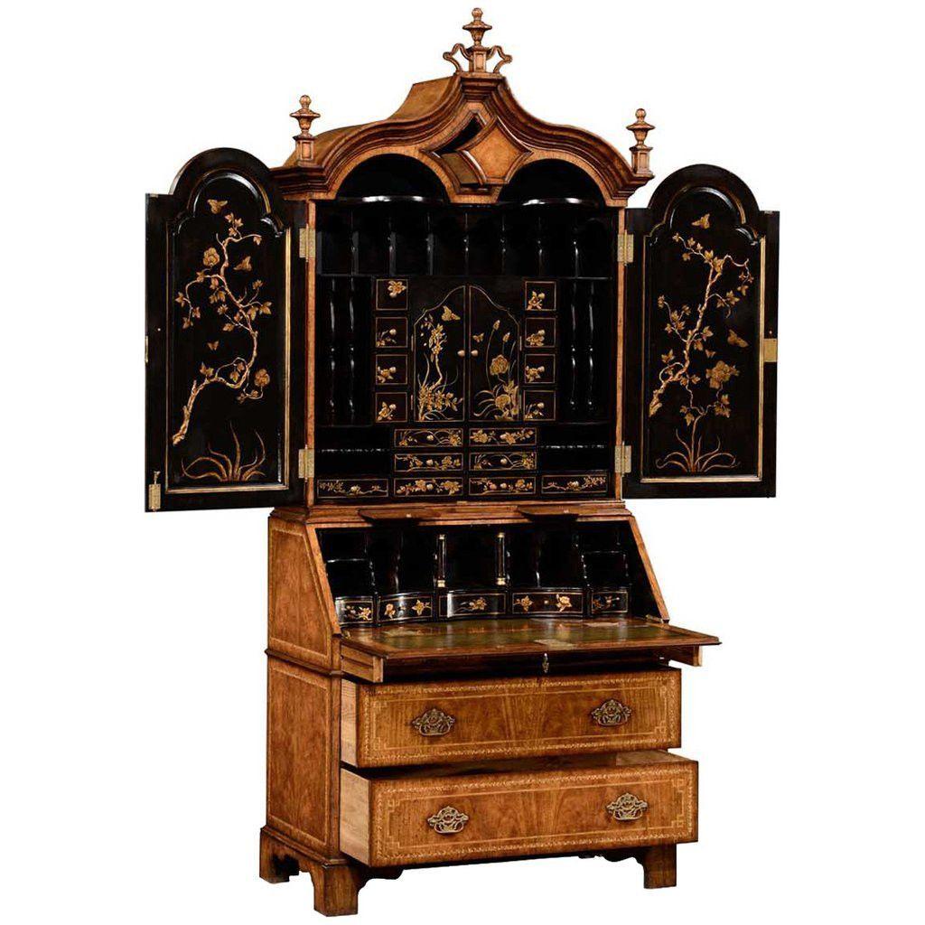 Jonathan Charles Queen Anne Walnut Chinoiserie Bureau 494557