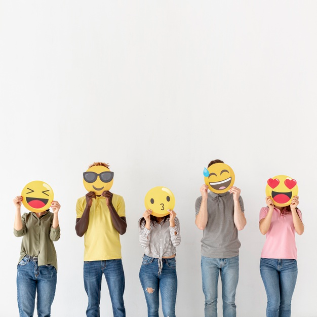 Download Copyspace Youngs Covering Heads With Emoji for free