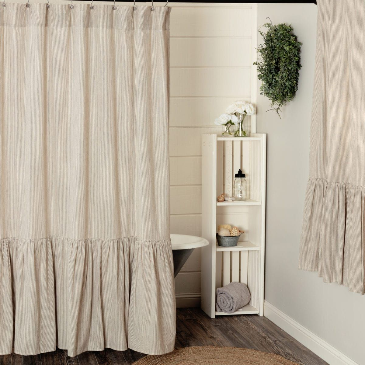 Sara S Ticking Black Ruffled Shower Curtain Piper Classics 2019 Curtains Tabletop Linens More In 2019 Ruffle