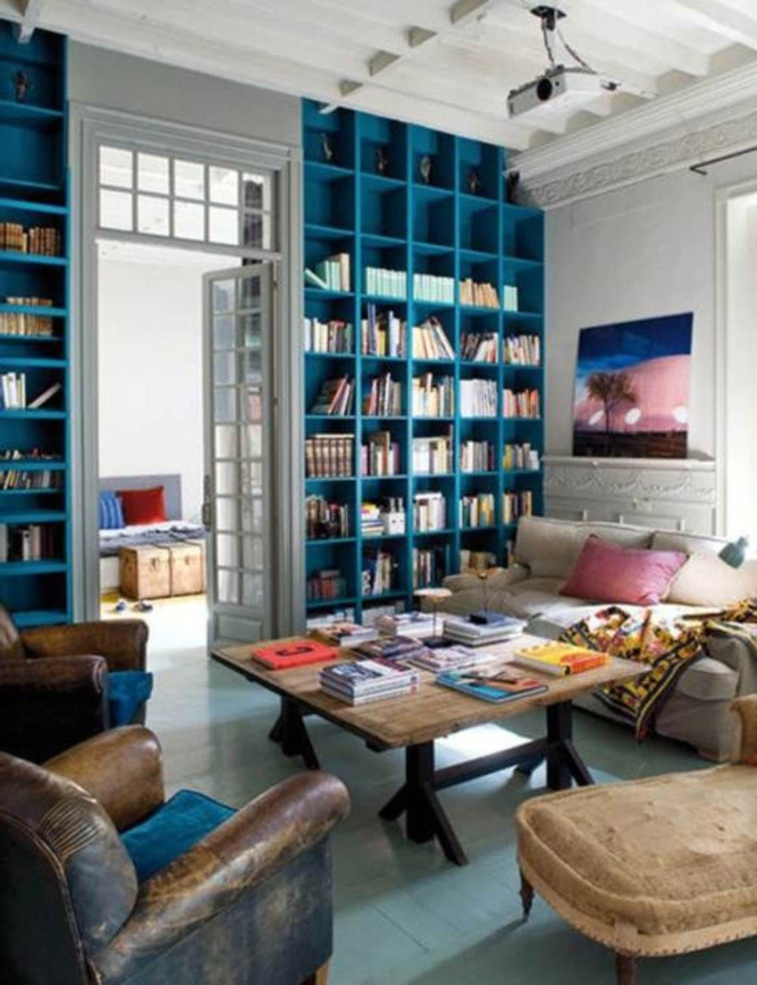 home library with blue | turquoise | teal shelves and bookcases