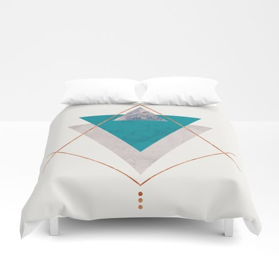 Teal Copper And Blush Geometric Duvet Cover By Xiari On Society6 Teal Copper Gold Blush Pink Green Blue Geometric Duvet Cover Gold Duvet Duvet Covers