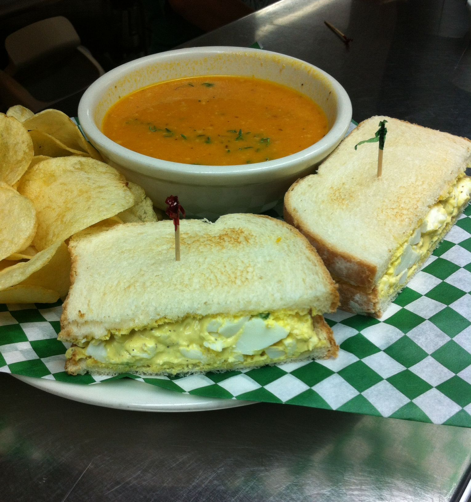 Special Egg Salad Sandwich Chips Creamy Tomato Soup Drink Tax 10 Fultoncafe Eggsaladsandwich Creamytomatosoup At Fu Food Recipes Creamy Tomato Soup
