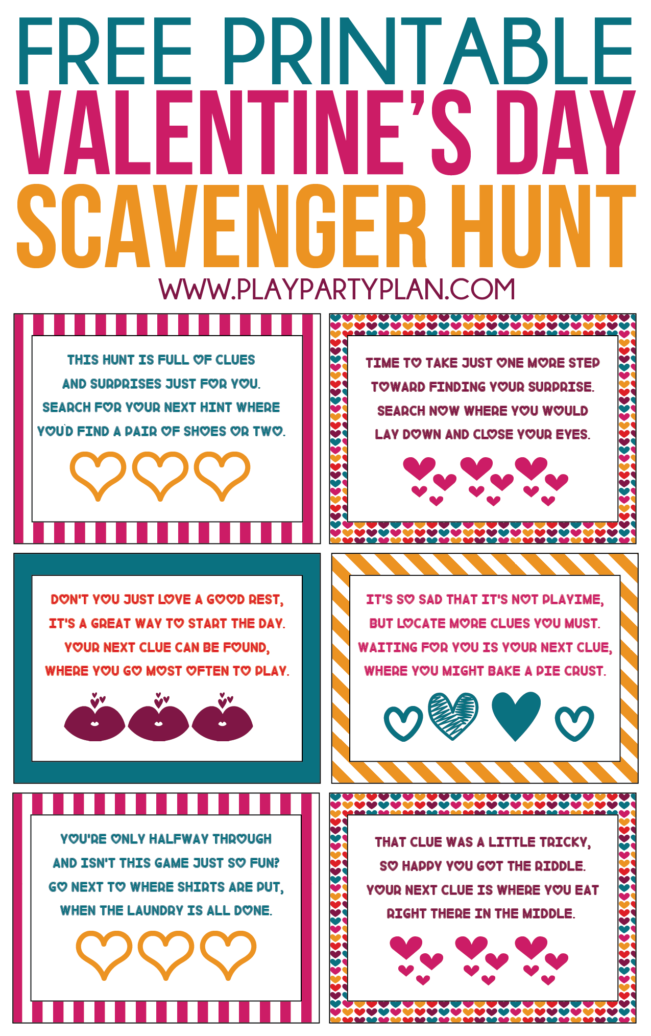 Free Printable Valentine's Day Scavenger Hunt Kids