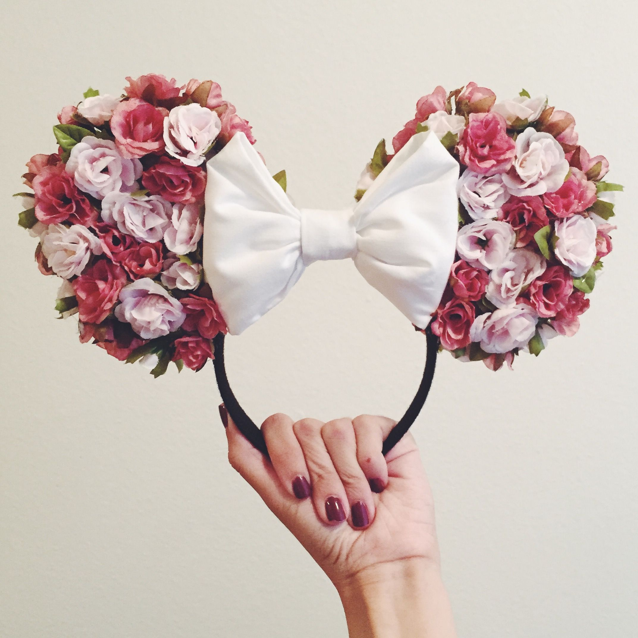 homemade floral minnie ears  used a tutorial i found on youtube