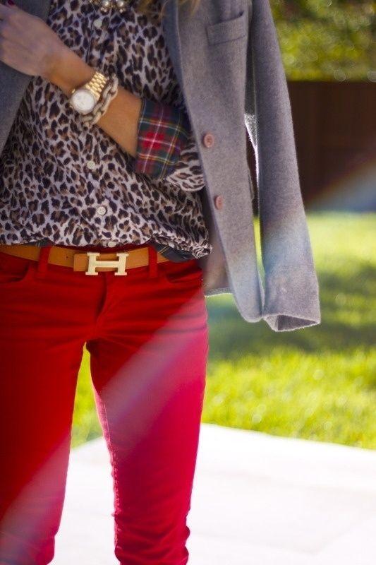 b727b7b9c034 Street Fashion: red pants, animal printed blouse with plaid cuffs, gray  blazer