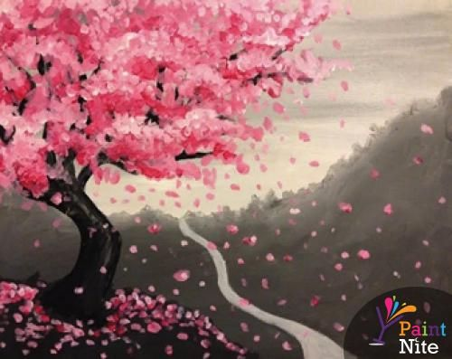 Paint Nite Granite Grill 01 21 2015 Cherry Blossom Painting Painting Tree Art