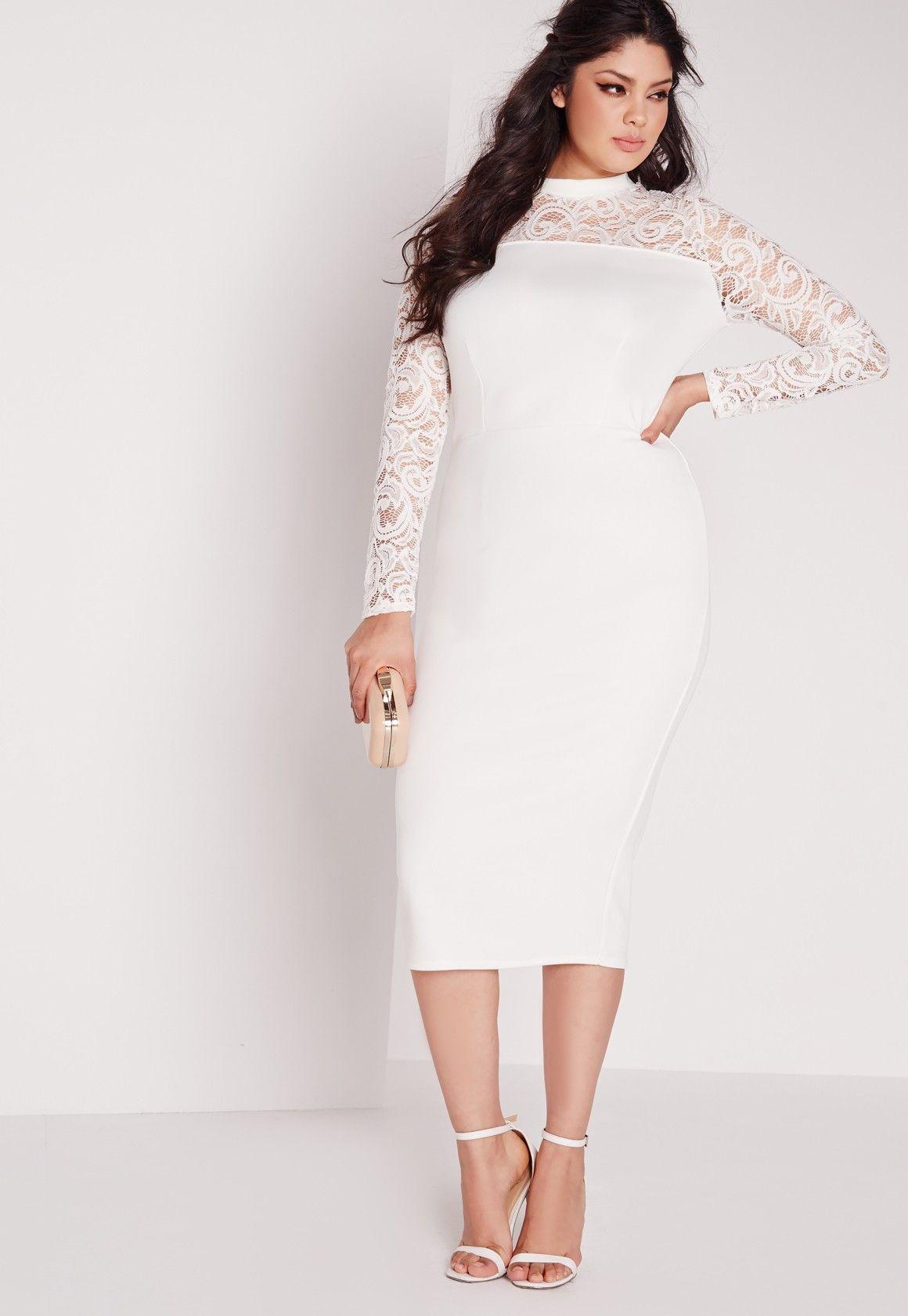 Missguided Plus Size Scuba Lace Midi Dress White Shower Dress For Bride Bridal Shower Dress White Bridal Shower Dress [ 1680 x 1160 Pixel ]