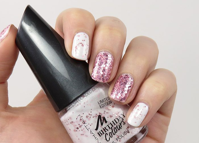 [Nageldesign / nailart] mixed rosé mit Glitter-Topper