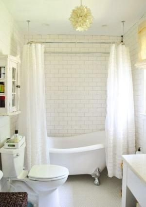 Claw Foot Tub Floor White Penny Tile Wall Subway Tile Ruffled