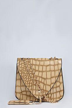 Kiera Mock Croc Tassel Cross Body Bag at boohoo.com