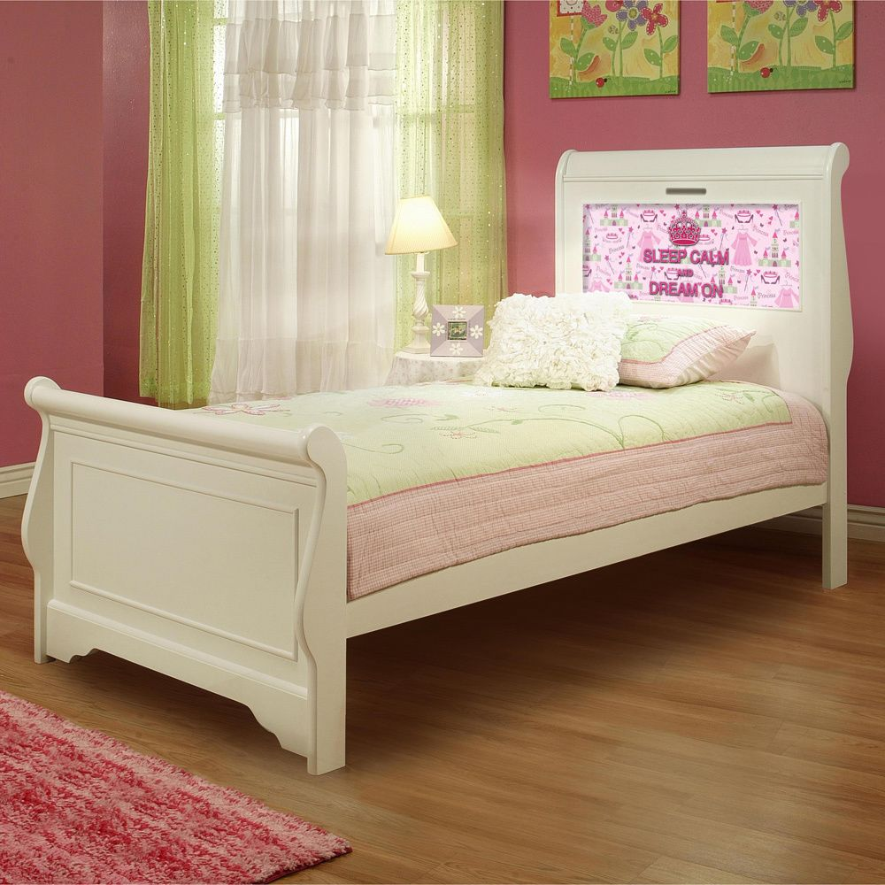 Lightheaded Beds Edgewood Satin White Twin Sleigh Bed With