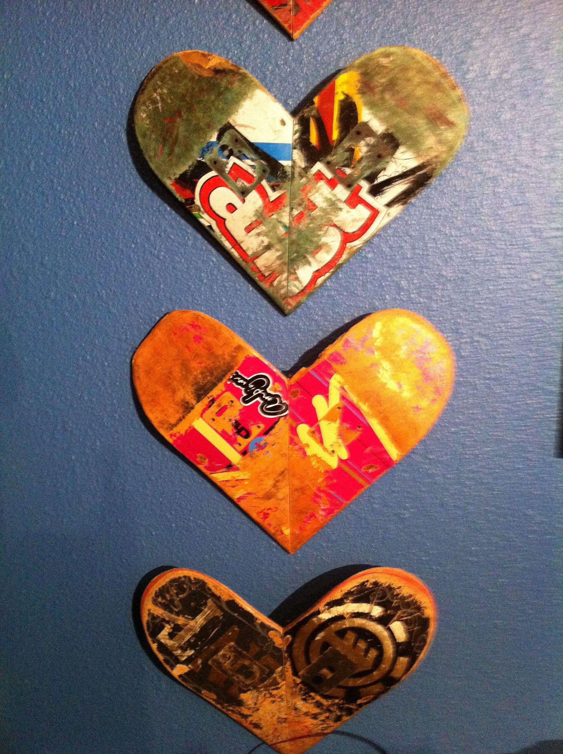 hearts from broken skateboards upcycled pinterest