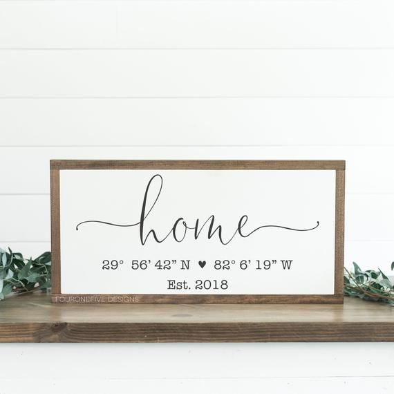 Photo of Home Coordinates, Framed Wood Sign, Rustic Home Decor, Farmhouse Style, Wall Decor, Custom Sign, Established Date