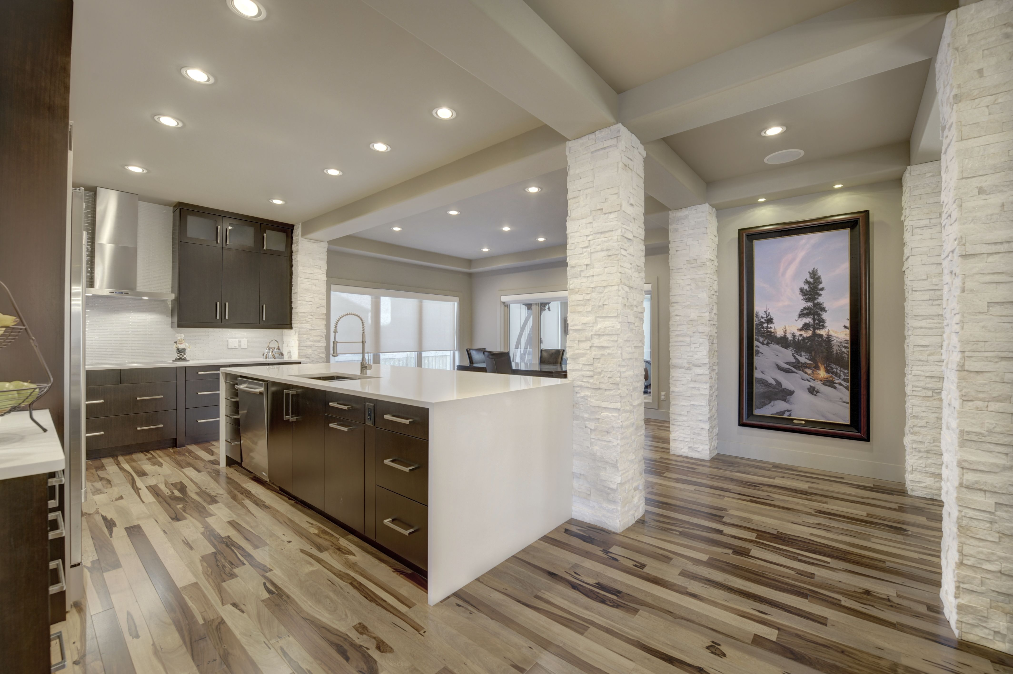 Maple flooring kitchen with stained maple cabinets. Dark ... on Maple Kitchen Cabinets With Quartz Countertops  id=95571