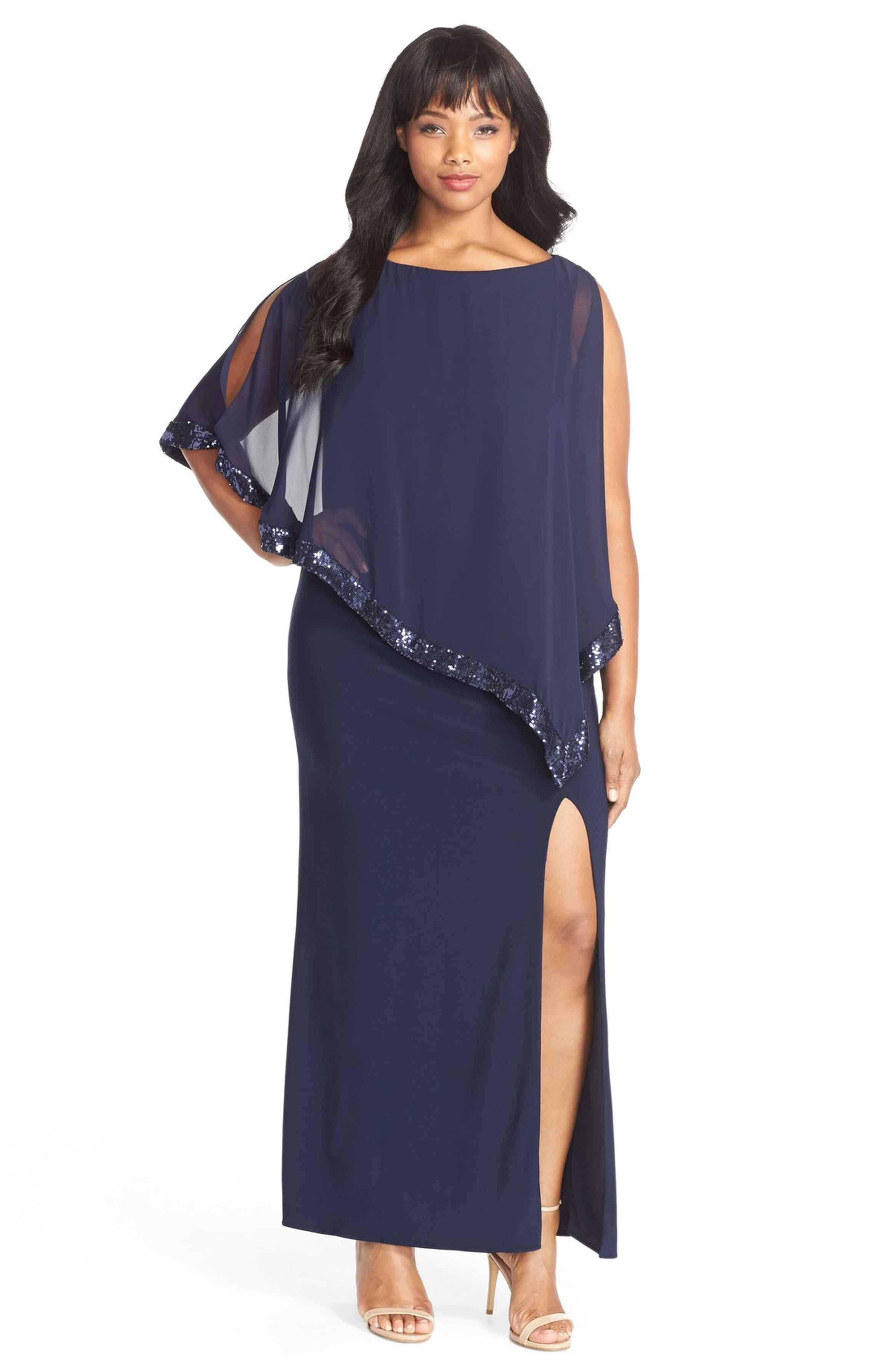 f2ca44de0b144 Main Image - Xscape Jersey Gown with Sequin Trim Chiffon Overlay (Plus Size)