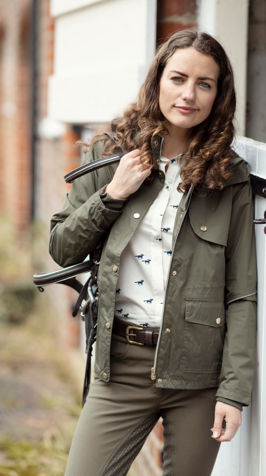 Woman With Tack At The Livery Mucking Out Country Clothing Uk Country Outfits Country Wear