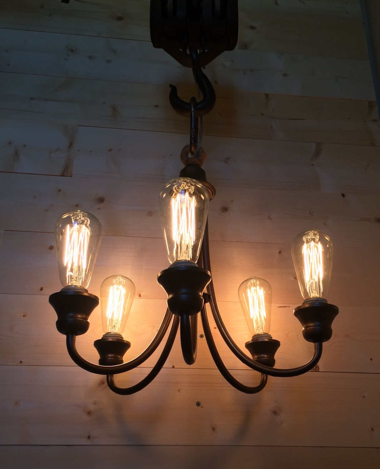 Rustic pulley chandelier rustic lighting pinterest rustic rustic pulley chandelier aloadofball Image collections