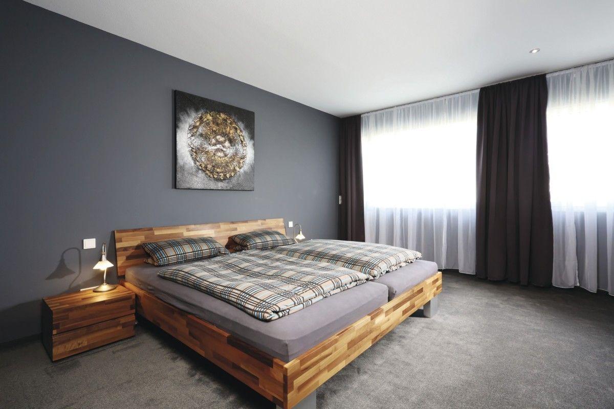 Schlafzimmer Ideen Wandgestaltung Grau   WeberHaus City Life Kundenhaus    HausbauDirekt.de