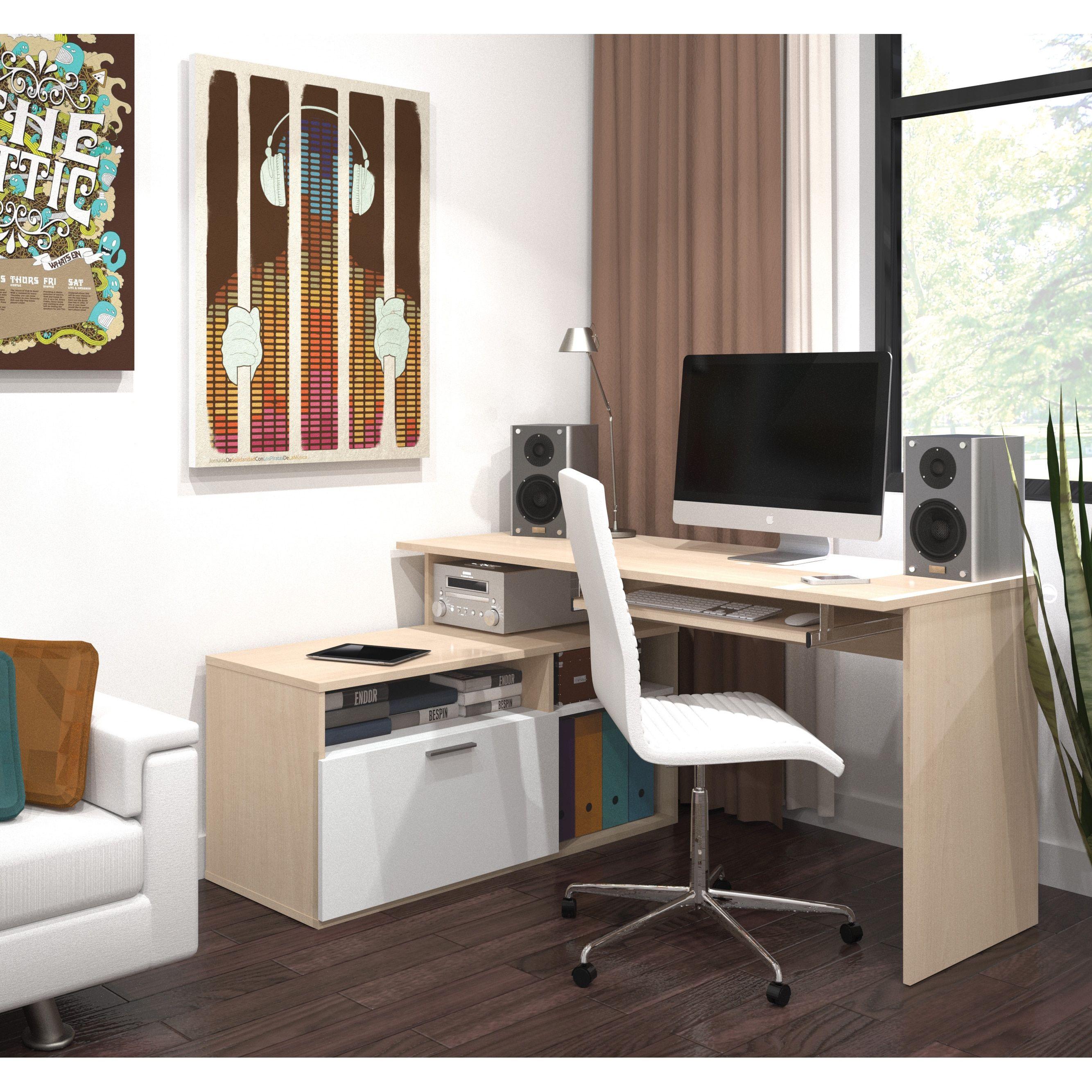 maple wood finish adjustable bestar modula compact l workstation desk wood finish maple finish tuxedo brown office space