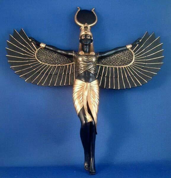 Bronze Finish Isis Egyptian Goddess Spreading Wings Wall Sculpture