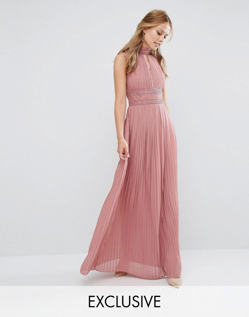 Image 1 of TFNC WEDDING Pleated Maxi Dress with Lace Detail ...